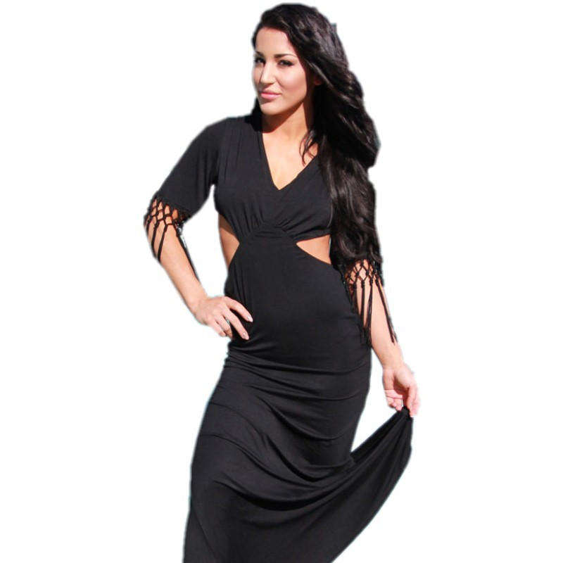 Women long summer dress 2015 vestidos hot club sexy maxi dresses long tassel fringe and cut out black backless dress 60394