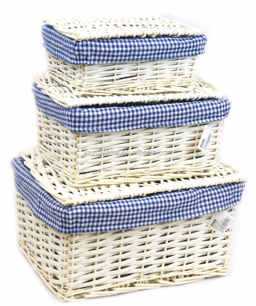 Wicker Storage Lidded Xmas Hamper Basket With Blue Lining In small,medium,Large