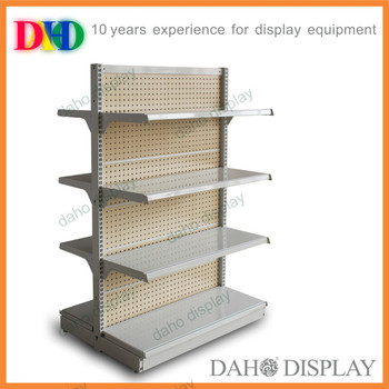 Free-standing metal slatwall display rack for supermarket