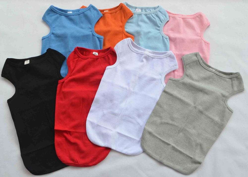 Dog clothing wholesale small dog tanks top t shirts ribbed for Buy 100 cotton t shirts in bulk