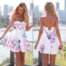 2016 new fashion hot sexy sleeveless summer beach party Evening Cocktail Mini free prom dress