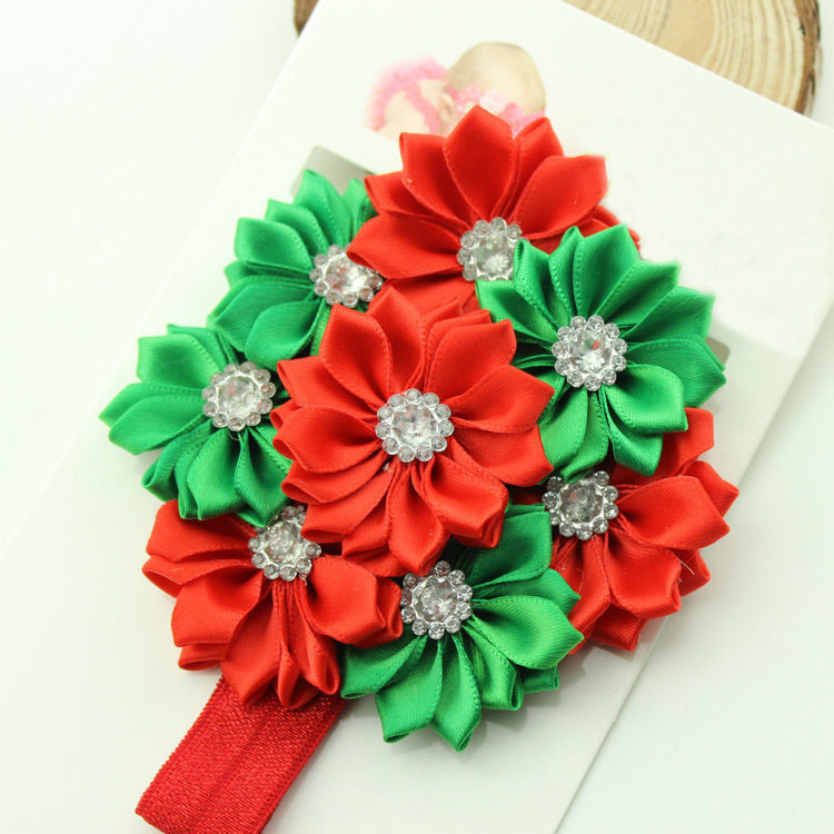 factory directly wholesale chic shabby chiffon flower crystal baby Christmas headband