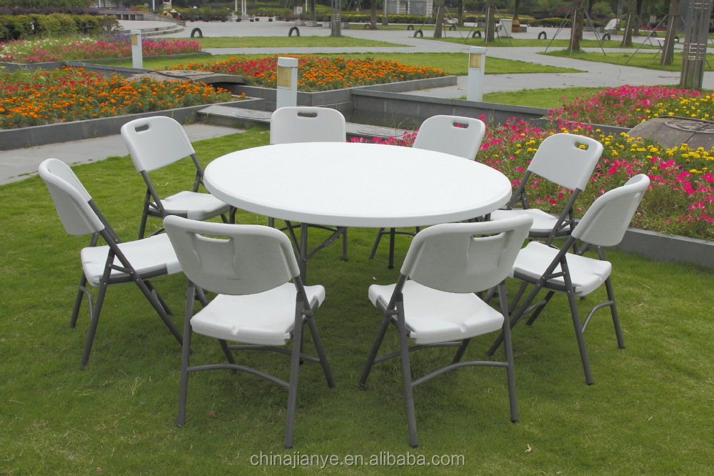 2015 hot sale 5ft plastic used round banquet table for sale