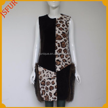 High quality leopard pattern women vest with real sheep fur vest