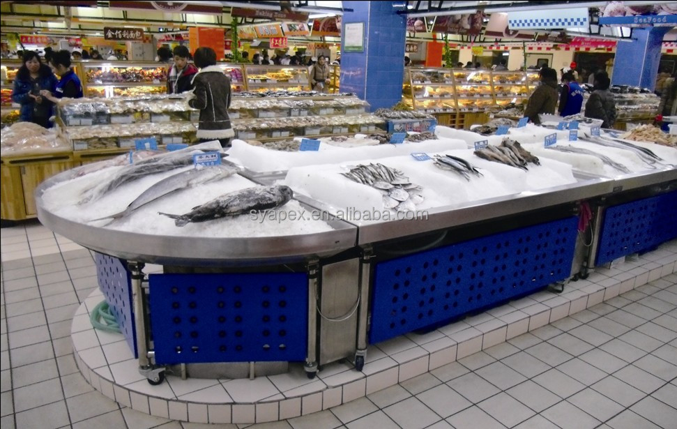 APEX custom make commercial supermarket restaurant stainless steel ikan frozen display table