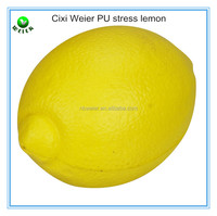 5.3x7.3cm lemon shape PU stress ball/soft toy PU foam lemon for kids&adults/fruits soft foam PU stress lemon