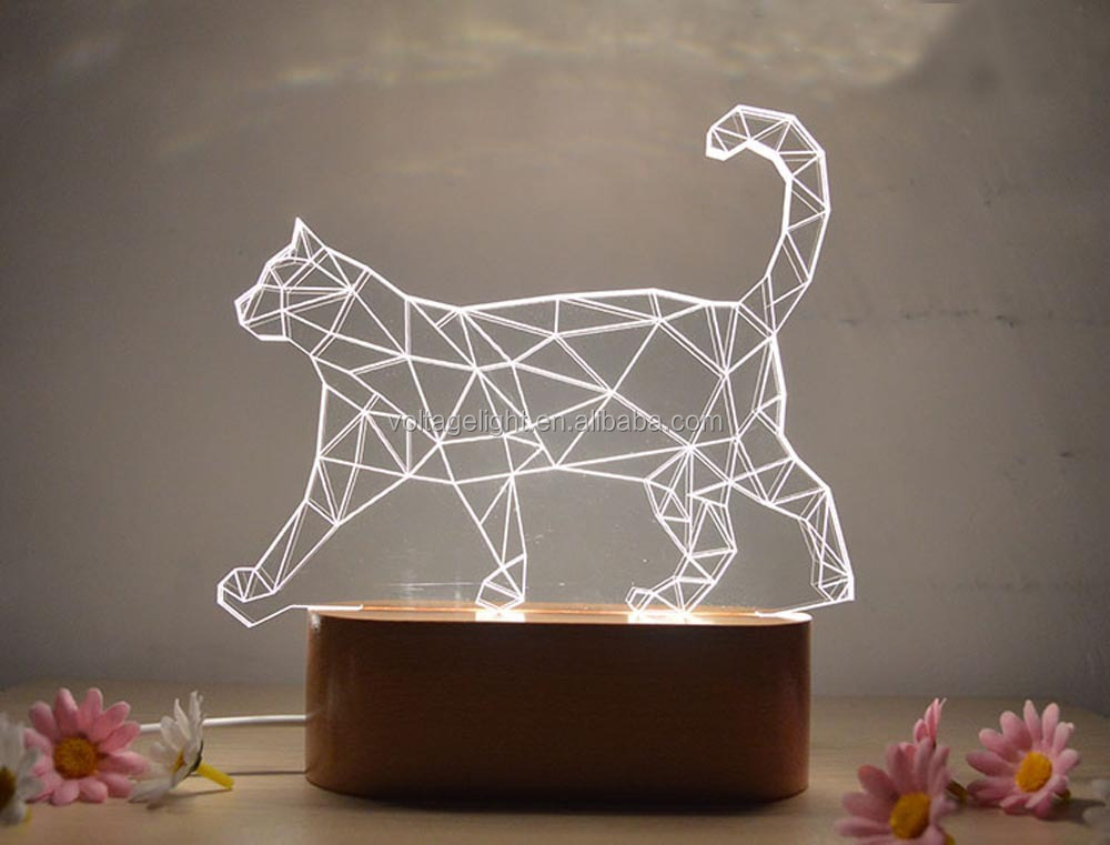 2015 New Products 3D LED Animal Night Light Acrylic Wooden Base USB Port Table Lamp