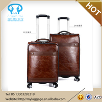 Wholesale laptop trolley bag, wheeled pu luggage for business