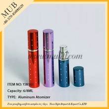 Pocket type 6/8ml colorful empty aluminum perfume spray glass bottle for cosmetic packaging