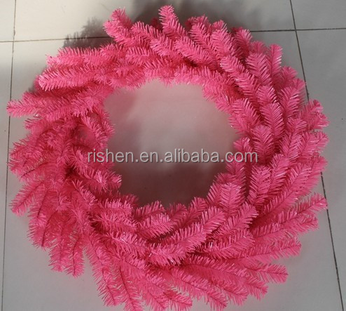 newest PVC tips christmas wreath decorations picks hot sell decorative pink christmas wreath
