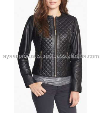 Collarless Quilted Leather Jacket Regular and Petite AP-1102