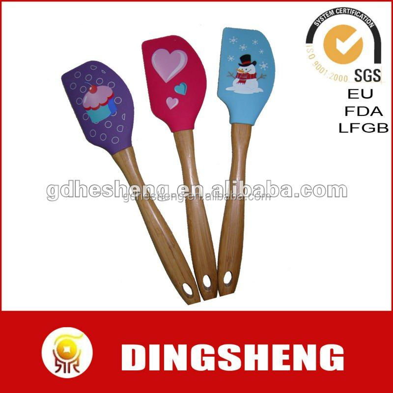 Screen printing silicone spatula with wooden handle for christmas gift