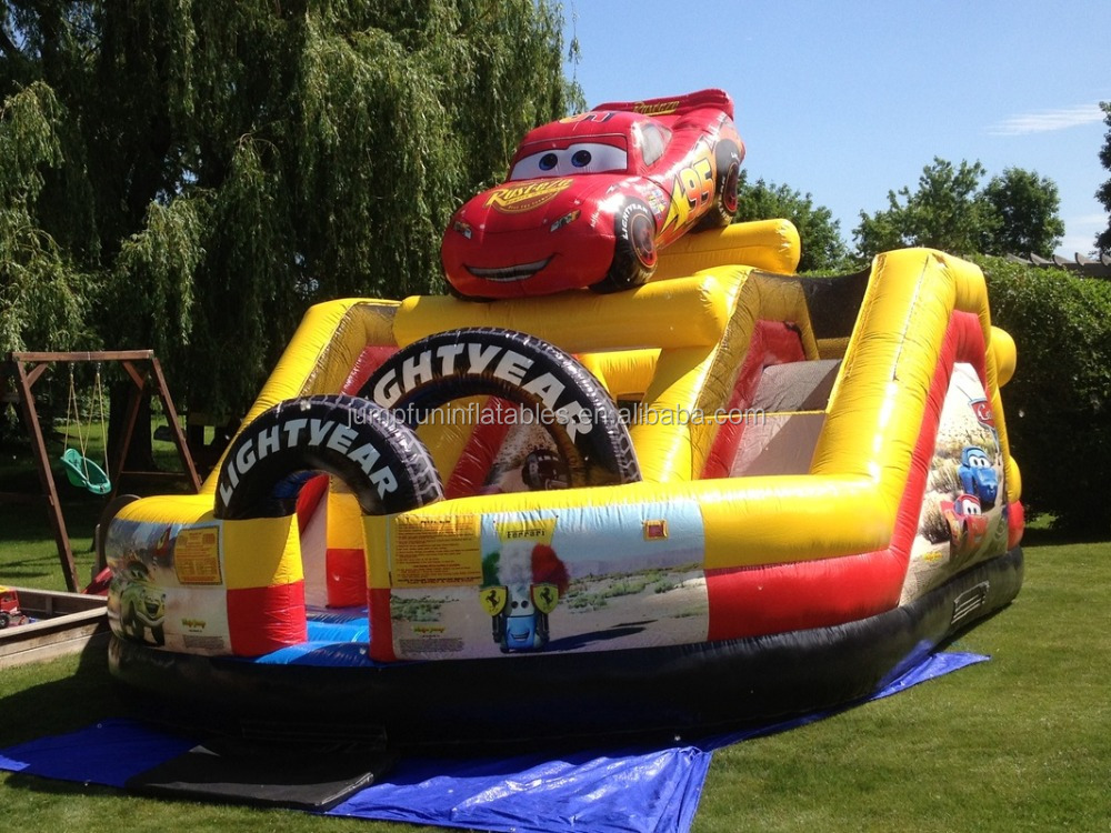Jumpfun inflatable slide with car,mini inflatable fun city,china inflatable