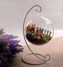 hanging glass terrarium with metal holder