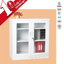 Two glass doors half height white corner storage cabinet with adjustable shelf/wall mounted living room glass showcase designs