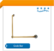 Bathroom / Toilet grab bar for disabled ( PVC surface-wood color)- L type