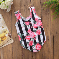 New Style Sleeveless flower Printing Swim Wear Clothes Baby Girls One Piece Swimsuit