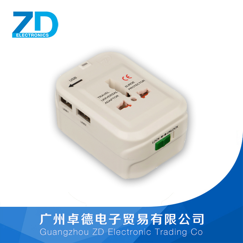 ZD-933 USB Charging Port Surge Protector All in One Universal Worldwide Travel Wall Charger AC Power AU UK US EU Plug Adapter