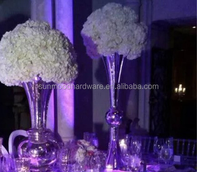 accept paypal/visasliver trumpet shape tall vase,flower vase wedding centerpiece table decoration,mordern events vase decor idea