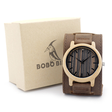 BOBO BIRD H08 Bamboo Watch Wooden Dial Face with Scale Men Quartz Watches Leather Straps relojes mujer marca de lujo 2017