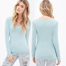 Newest Western Style Young Ladies tops Fashion Lady V-Neck Knit Top
