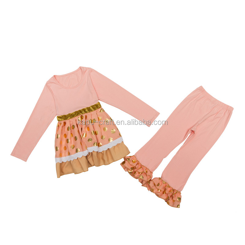 persnickety lovely children outfit wholesale remake fall girls ruffle sets cotton dress and ruffle pants sets glod polk dots