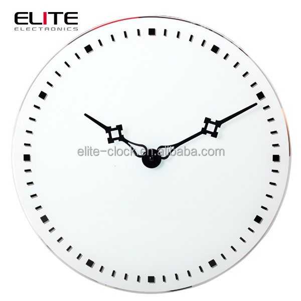 Top quality decorative simple modern design quartz rhythm glass wall clock