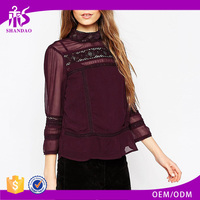2016 Guangzhou Shandao OEM/ODM New Fashion Design Women Summer Casual 3/4 Sleeve Wine Red Lace Blouse Neck Designs Pictures