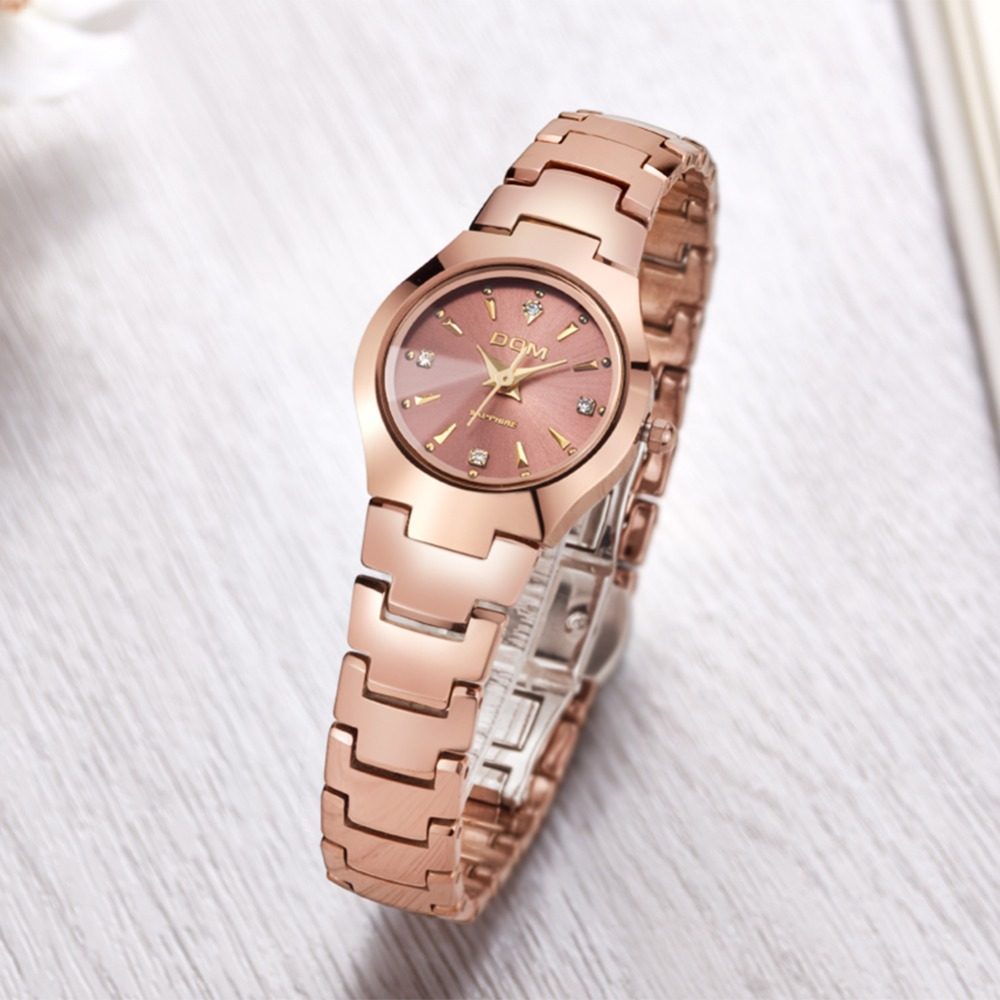 round dial sapphire face tungsten steel frame women quartz luxury watch made in chinese