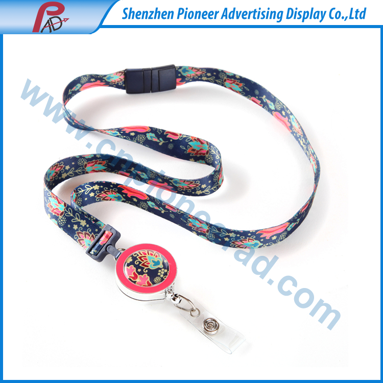 Promotion custom logo printed ribbon lanyard for keychain