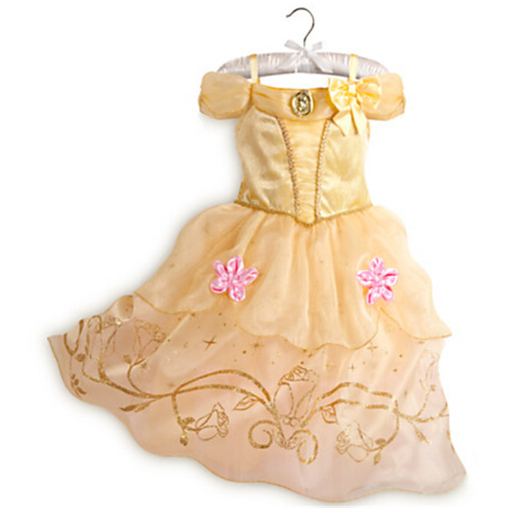 2016 Wholesale Baby Girls Cinderella Birthday Puffy Flower Dresses For Girls Cinderella Dress Cosplay Costume