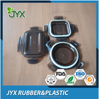 Glass container plastic cover and silicone seal