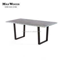 Industrial zinc top U shaped metal legs dining table for restaurant