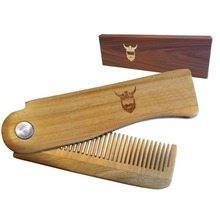 Private Label Folding Beard Comb- Great for Head Hair and Beards - Anti-Static Wooden Styling Comb for Mens - 569004