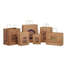 Small mini brown paper kraft bags with handles