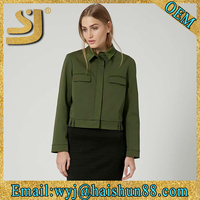 Beautiful plain varsity jacket wholesale,spring green cotton workwear jacket