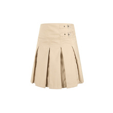 Design Khaki Pleated Girls Skirt High School Uniform