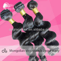 Grace hair hot selling cheaper virgin mongoian loose wavy bundle,natural black and can be dyed