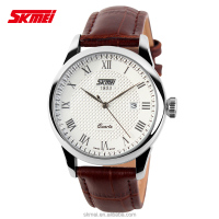 SKMEI Classic silver wristwatch case for couple unisex real leather material quartz watch