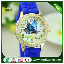 Promotion Lady Brand Watch Crystal Silicone Jelly Watch Quartz Watches Wristwatch Mix Colors