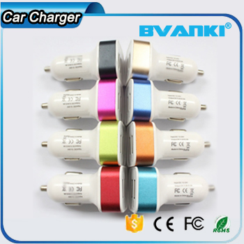 Colorful Multiple Circuit Protect Double-port Intelligent Quick Charging Cell Phone Car Adapter
