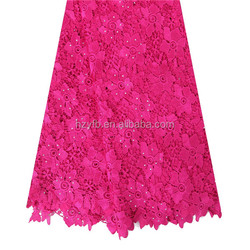 Wholesale fushia pink stones floral polyester embroidered bridal fabrics wholesale / Cotton guipure lace fabric for garment