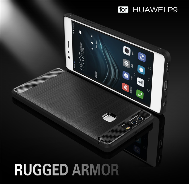 factory wholesale cheap carbon fiber tpu for huawei p9 rugged armor ccover