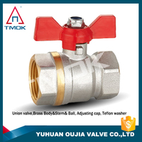 "wafer type water pipe high pressure ball valve 3 Way Brass Ball Valve, Full L-Port 1/2"" Female NPT 600WOG"