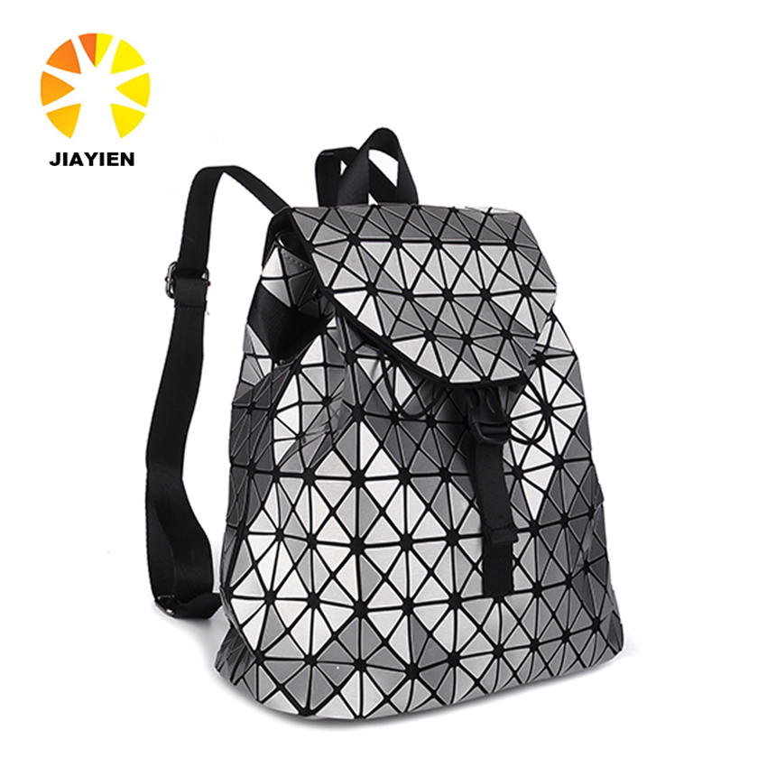 Free shipping Women backpack 2016 geometric patchwork diamond lattice backpack famous brand drawstring bag mochila sac a dos