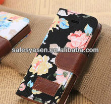 Hot selling wallet leather case for iphone 5 with flower cloth material