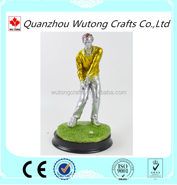 factory wholesale Arts and crafts Golden statue golf sports figures for souvenir