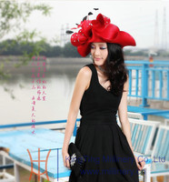 Ladies Big Red / Blue Designer Hat Fancy Women Church Hats Wholesale/Stylish Church hat