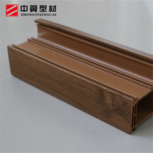 Wooden film laminated PVC casement window and door two track sliding window hollow UPVC profile