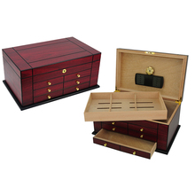 Antique Cigar Accessories Box Set Spanish Cedar Humidor